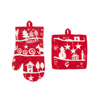 Nordic oven mitt and pot holder set in 100% cotton
