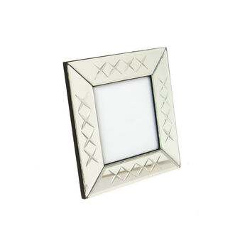 Square photo holder with mirror frame