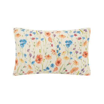 Rectangular cotton cushion with meadow flower print