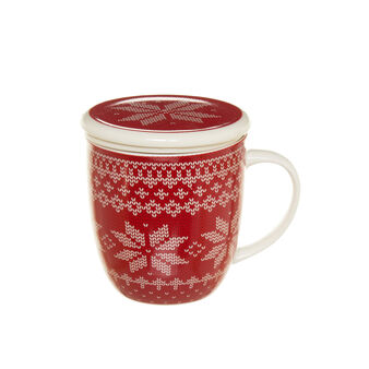 Porcelain infuser cup with snowflake decoration