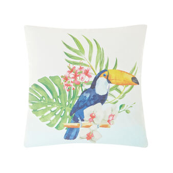 Cushion with toucan print