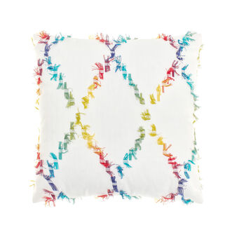 Cotton blend cushion with fringing
