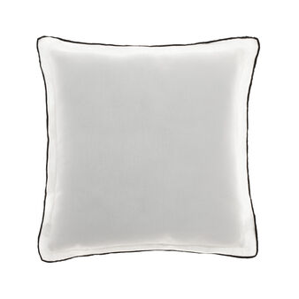 Linen cushion with overlock stitching
