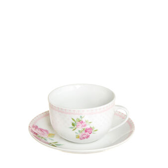 Porcelain tea cup with rose decoration