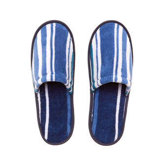 Yarn-dyed, striped slippers