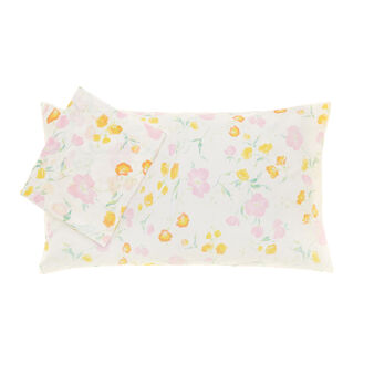 Bed linen set in 100% cotton percale with floral pattern