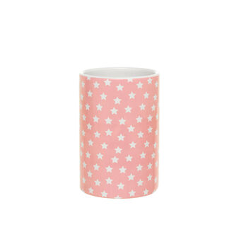 Portaspazzolini in ceramica rosa fantasia stelline