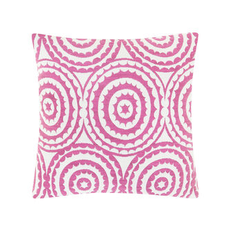 Jacquard cotton blend cushion with geometric pattern