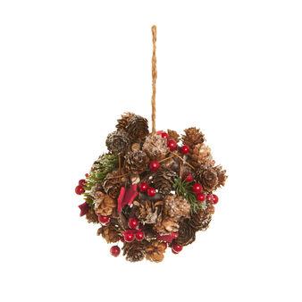 Ball-shaped door hanger with pine cones and berries D 13 cm.