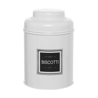 White smooth BISCUITS jar with lid