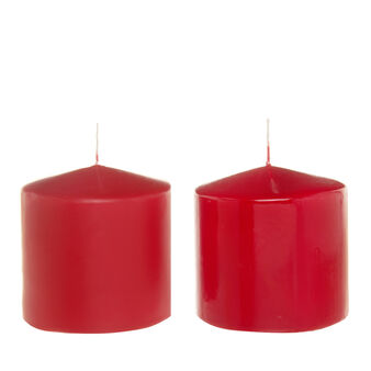 Cylindrical candle in assorted red wax