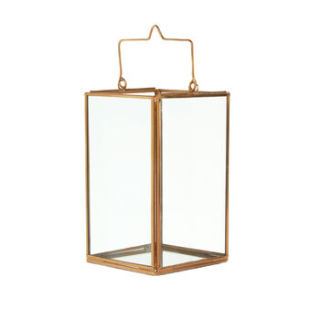Lantern in copper-coloured metal and glass