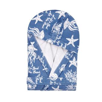 100% cotton velour bathrobe with marine pattern