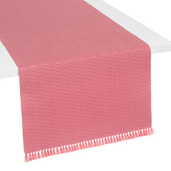 100% cotton table runner with fringe