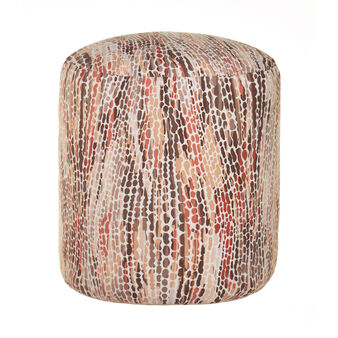 Round pouf with patterned print