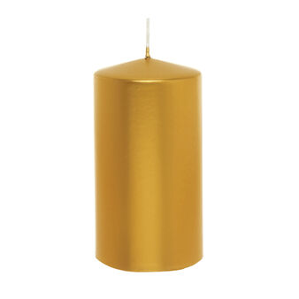 Cylindrical candle in shiny gold wax