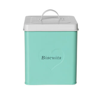 Biscuits barrel in enamelled tin