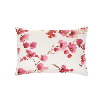 Cushion in cotton with peach flower pattern