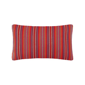 Rectangular cushion with multi-coloured jacquard pattern.