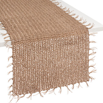 Woven raffia table runner
