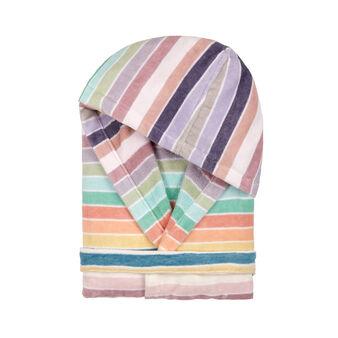 100% cotton velour bathrobe with stripes