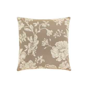 Cotton cushion with peony pattern