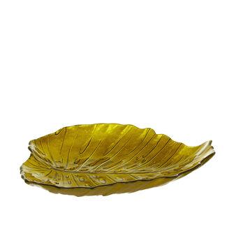 Glass leaf serving dish