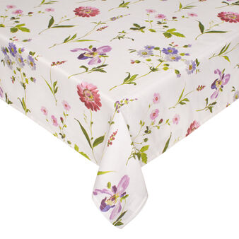 Linen blend tablecloth with Orchid floral print