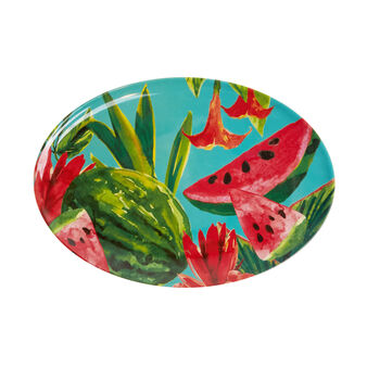 Oval serving platter in melamine with watermelons