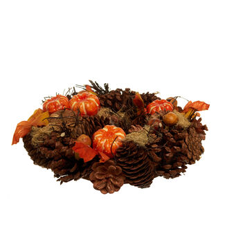 Autumn wreath with pine cones and pumpkins