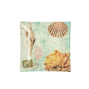 Piattino quadrato in vetro decorazione marina