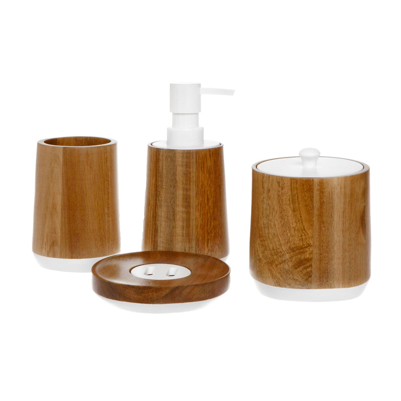 Set bagno legno acacia coincasa for Accessori bagno in legno