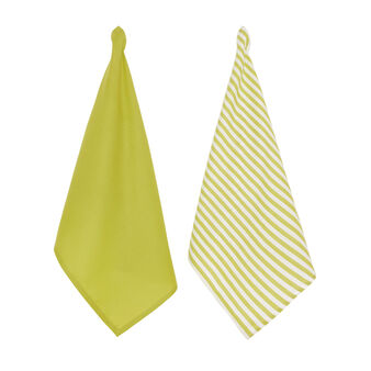 Two-pack tea towels in 100% cotton solid colour and striped