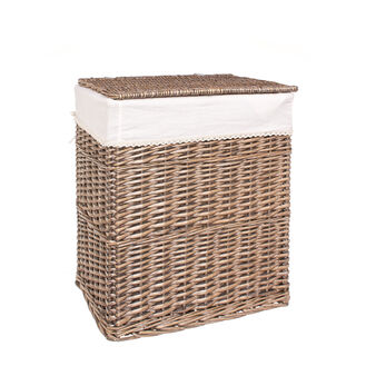 Laundry basket in natural willow wood