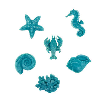 6X magnets with marine decoration