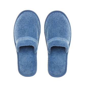 Denim-effect terry slippers
