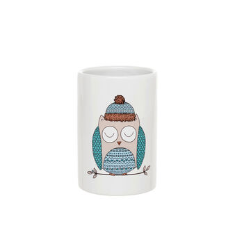 Ceramic toothbrush holder with owl screen print