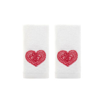 Set of two face cloths l in 100% cotton terry with hearts embroidery