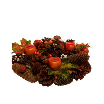 Autumn wreath with pine cones, leaves and pumpkins