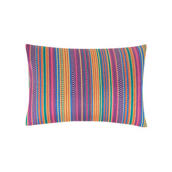 Striped linen and cotton rectangular cushion