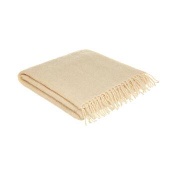 Plaid in bouclé di misto lana con frange