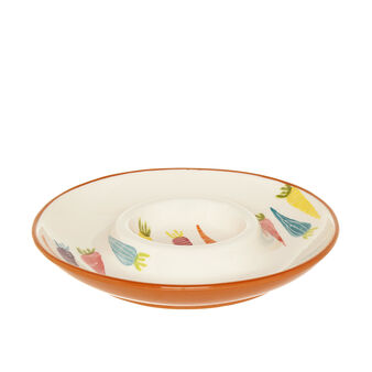 Chip & Dip ceramic appetizer plate