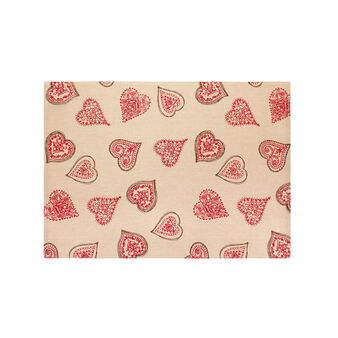 Ribbed table mat with Fancy Hearts print