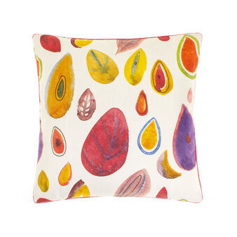 100% cotton cushion with tropical fruit print