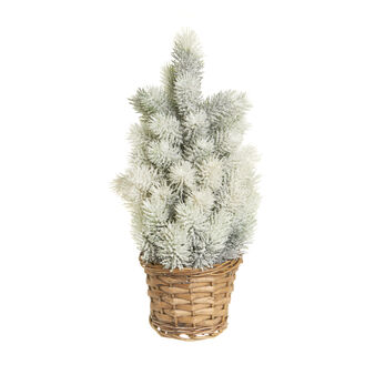 Small, snow-covered Christmas tree with wicker basket