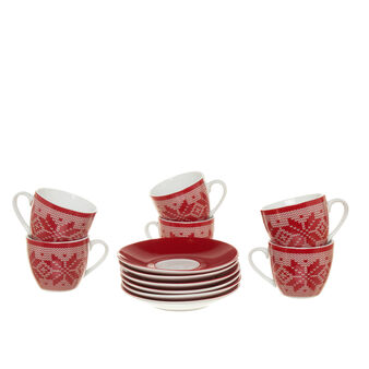 Set of six porcelain coffee cups