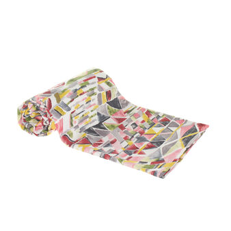 100% cotton throw with multicoloured print