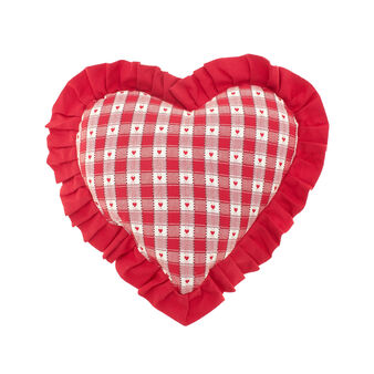 Check jacquard weave decorative heart-shaped cushion