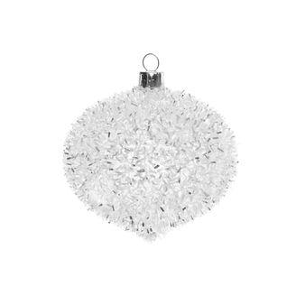 Decorazione natalizia vetro effetto neve D 8cm