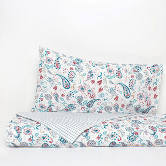 Double bed duvet cover in 100% cotton percale with paisley digital print